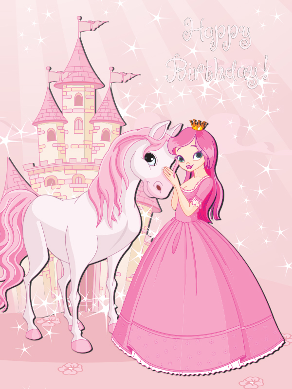 Pink Princess Birthday Card Artom Graphics